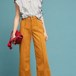 Anthropologie Wide Leg Cropped Pants
